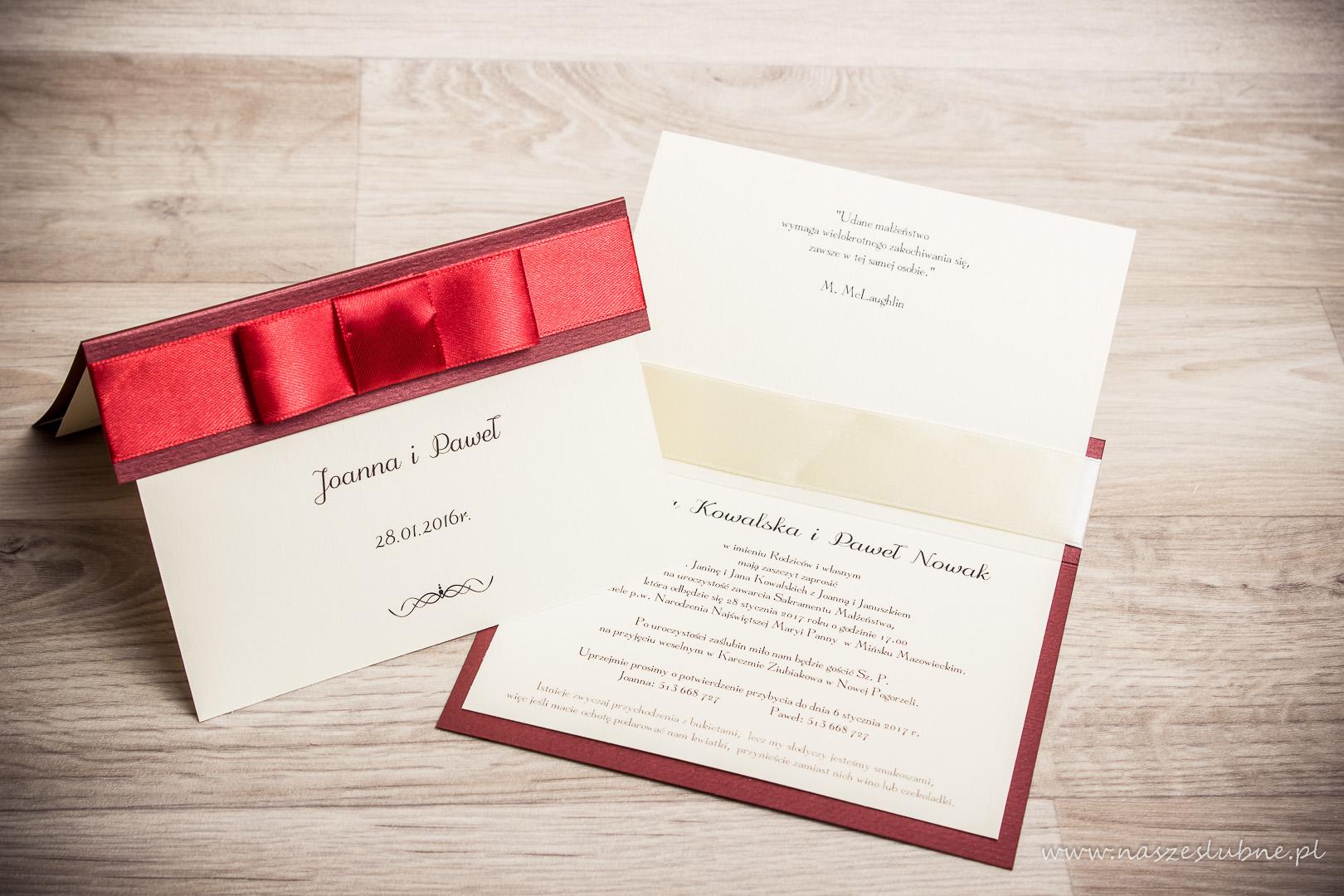 Zaproszenia ślubne – RÓŻNE: wzór nr 2