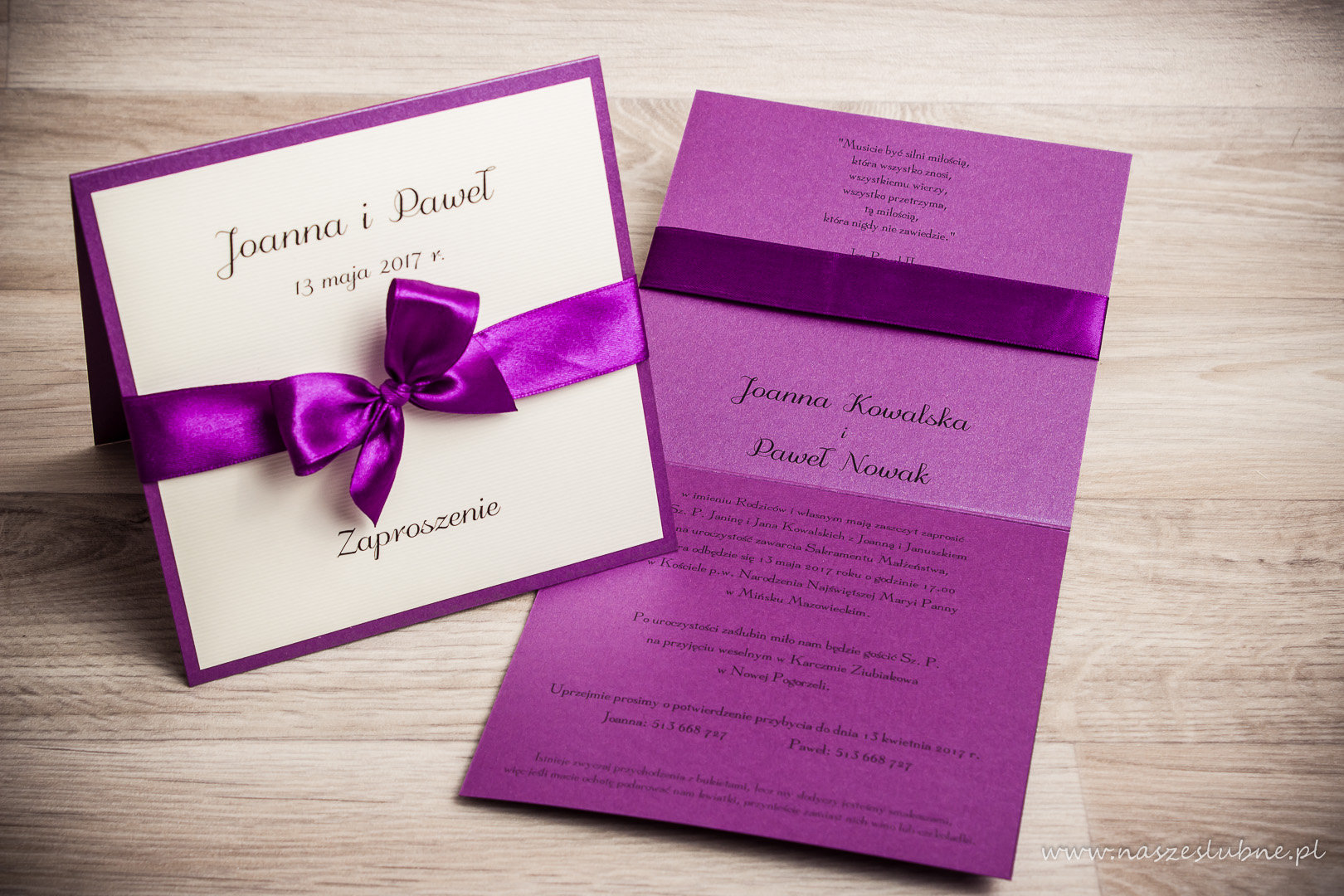 Zaproszenia ślubne – RÓŻNE: wzór nr 3