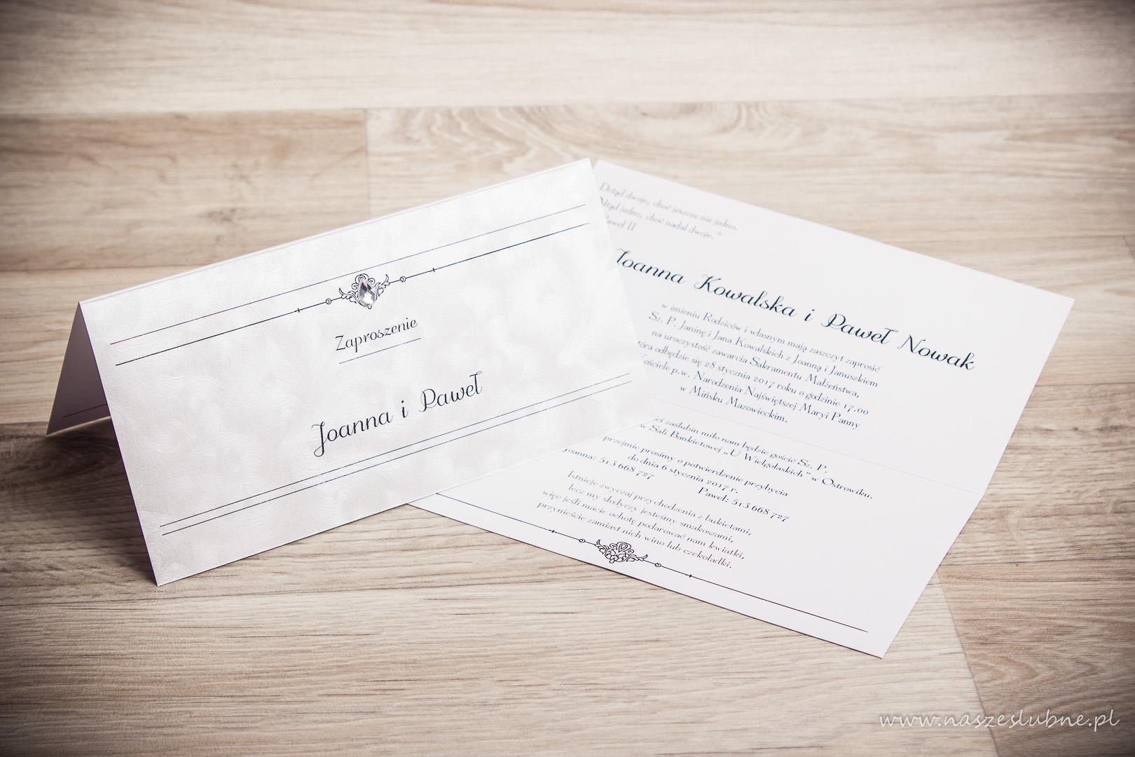 Zaproszenia ślubne – RÓŻNE: wzór nr 1