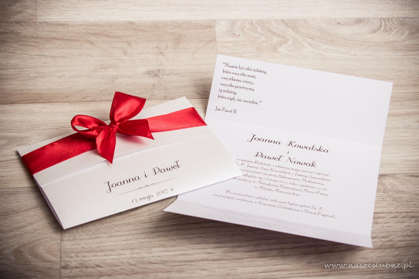 Zaproszenia ślubne – Z KOKARDĄ: wzór nr 2