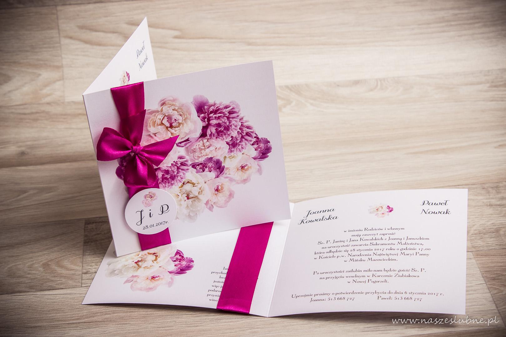 Zaproszenia ślubne – W KWIATY: wzór nr 3