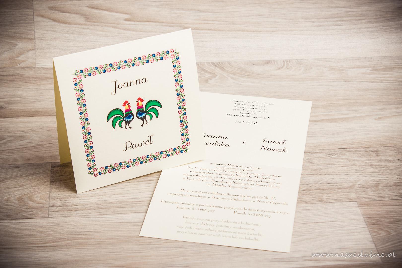 Zaproszenia ślubne – REGIONALNE: wzór nr 3
