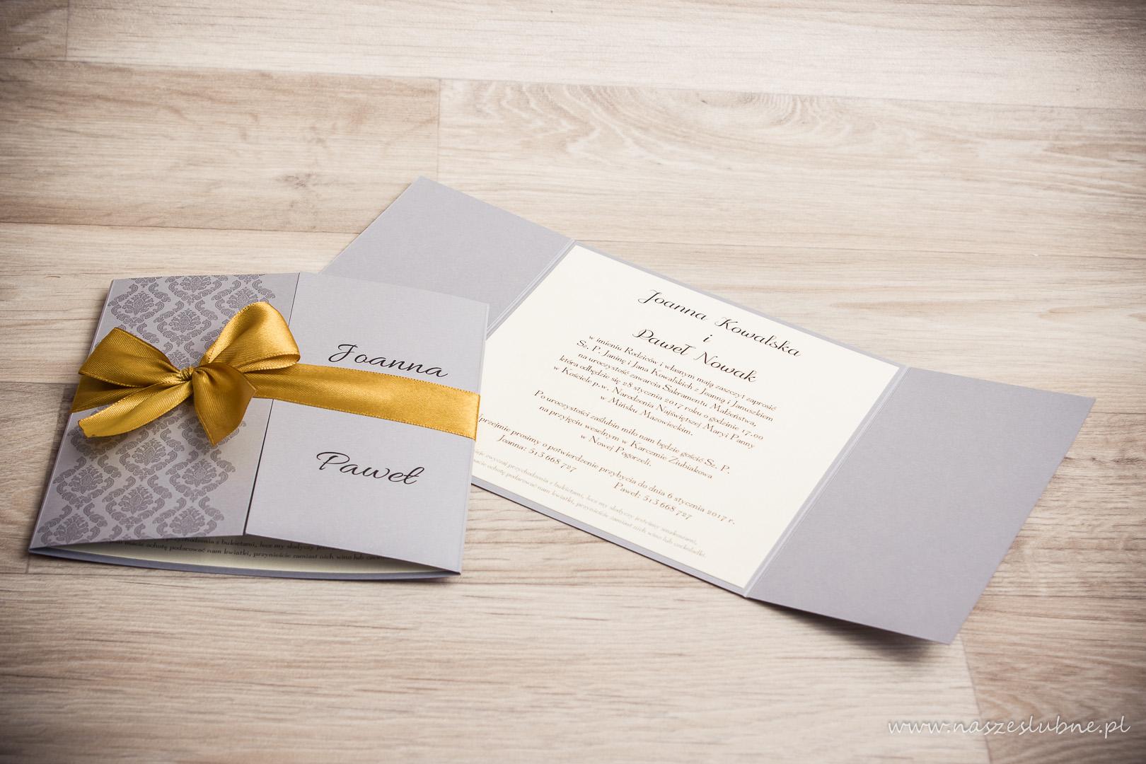 Zaproszenia ślubne – KORONKOWE: wzór nr 4