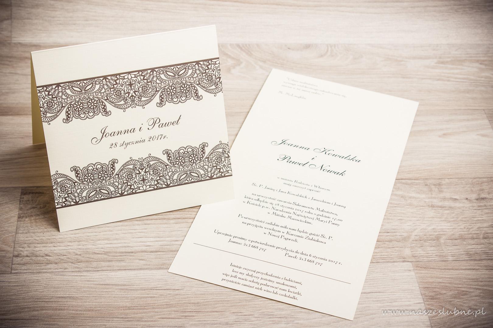 Zaproszenia ślubne Koronkowe Wzór Nr 1 Naszeslubnepl