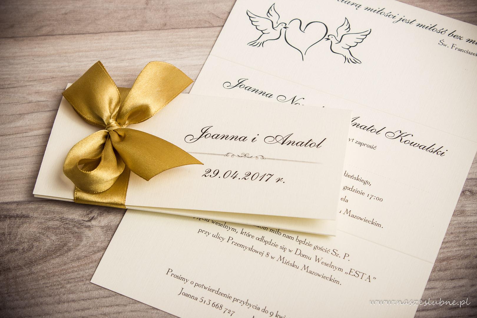 Zaproszenia ślubne – Z KOKARDĄ: wzór nr 3