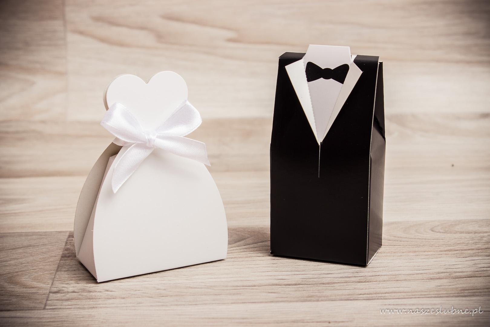 """Podziękowanie dla gości - pudełka """"panna młoda"""" i """"pan młody"""""""