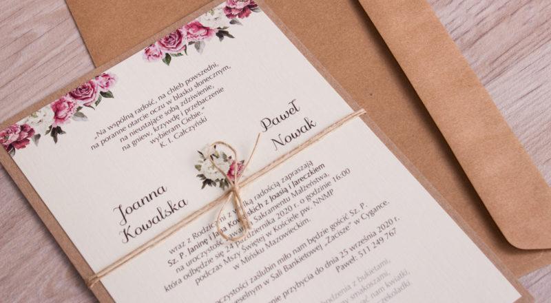 Zaproszenia ślubne – EKO: wzór nr 2
