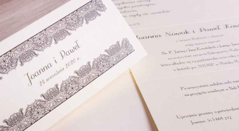 Zaproszenia ślubne – KORONKOWE: wzór nr 2