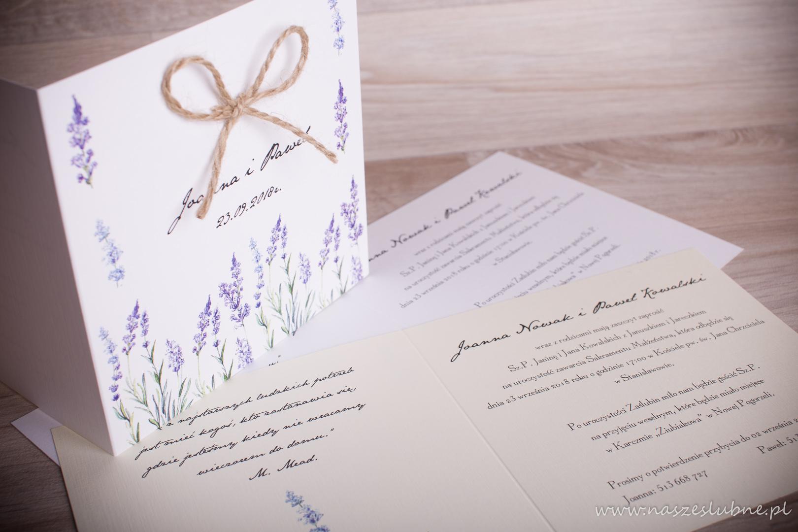 Zaproszenia ślubne – W KWIATY: wzór nr 2