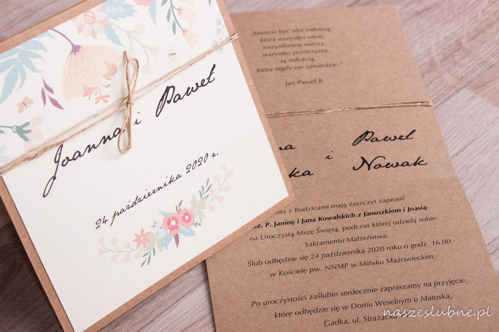 Zaproszenia ślubne - EKO: wzór nr 6