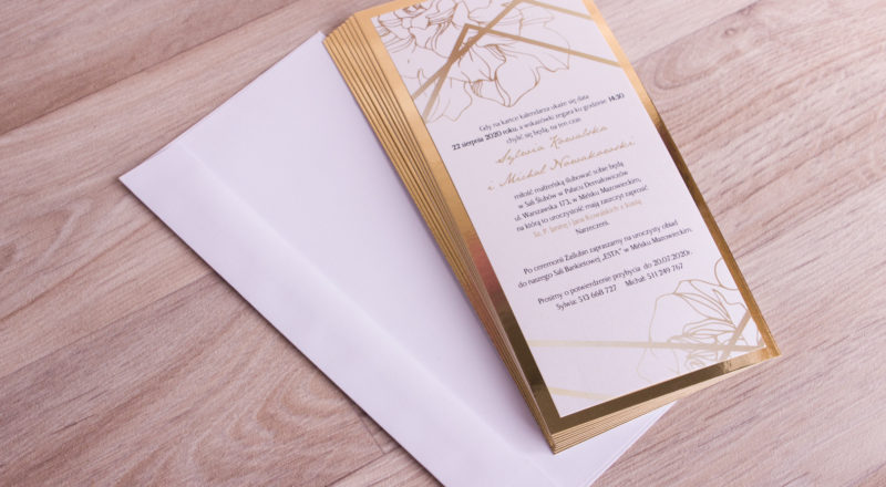 """Zaproszenia ślubne – ZŁOTE: wzór nr 1 """"A"""""""