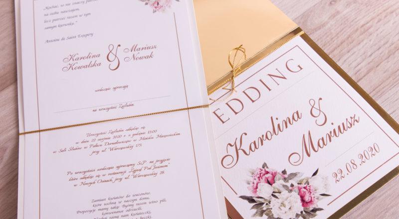"""Zaproszenia ślubne – ZŁOTE: wzór nr 2 """"A"""""""