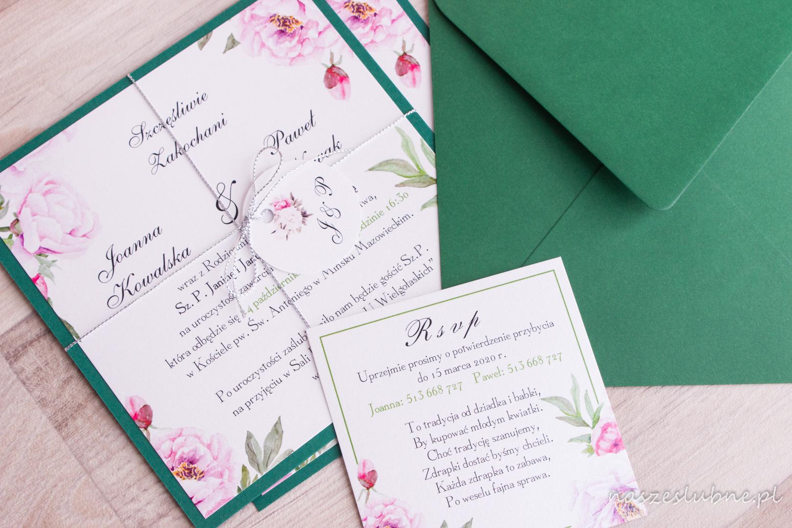 Zaproszenia ślubne - W KWIATY: wzór nr 4