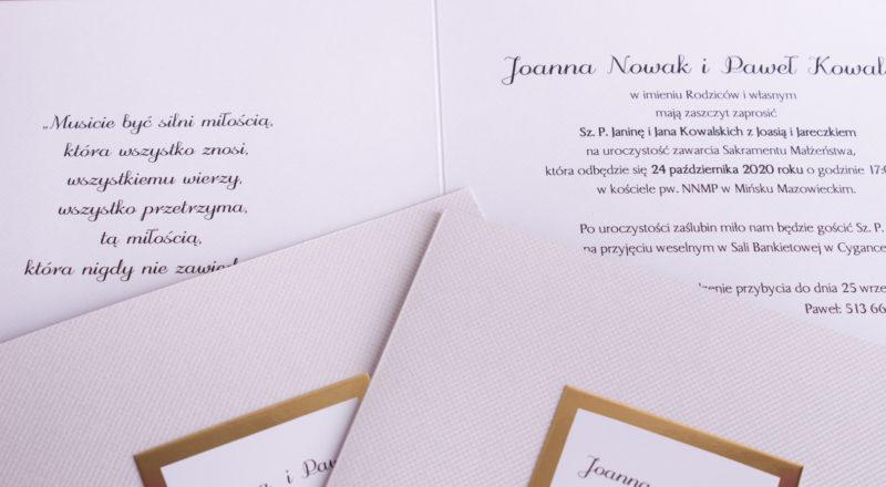 Zaproszenia ślubne – ZŁOTE: wzór nr 3