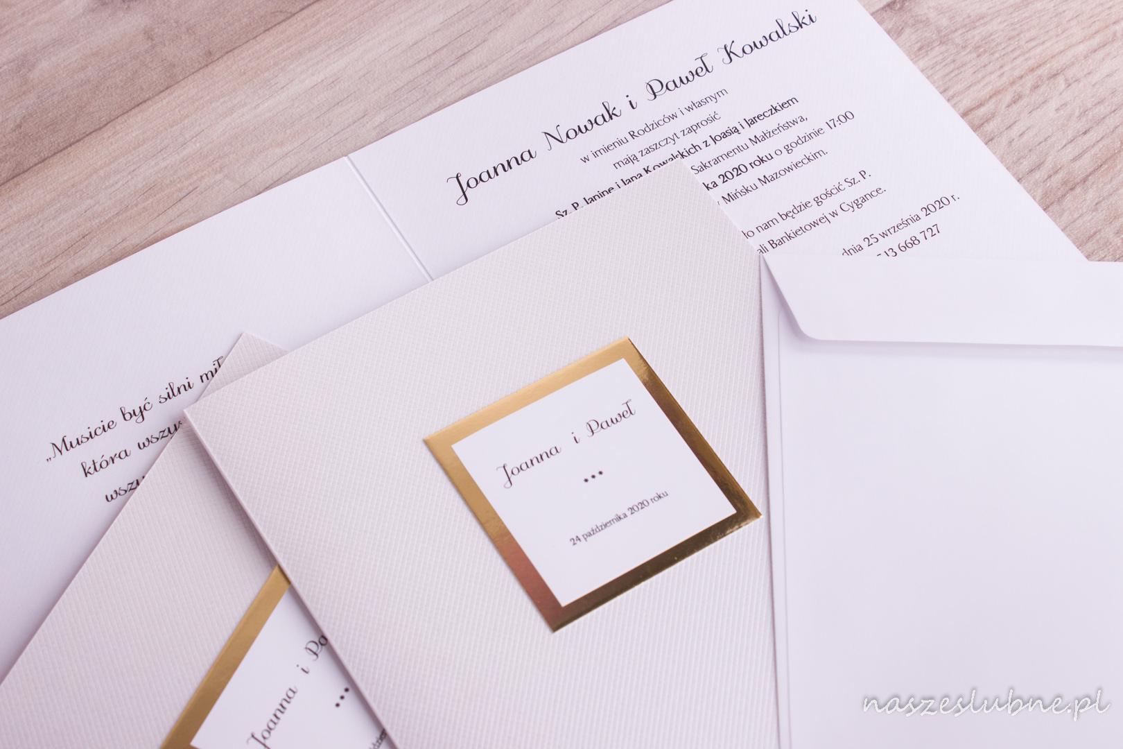 Zaproszenia ślubne - ZŁOTE: wzór nr 3