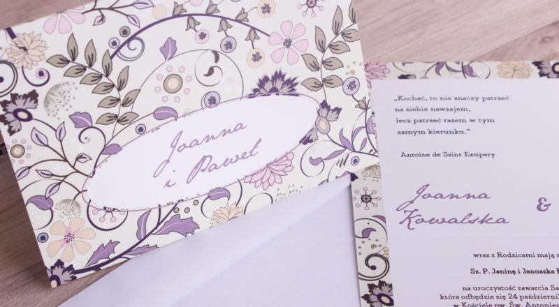 """Zaproszenia ślubne – W KWIATY: wzór nr 5 """"B"""""""