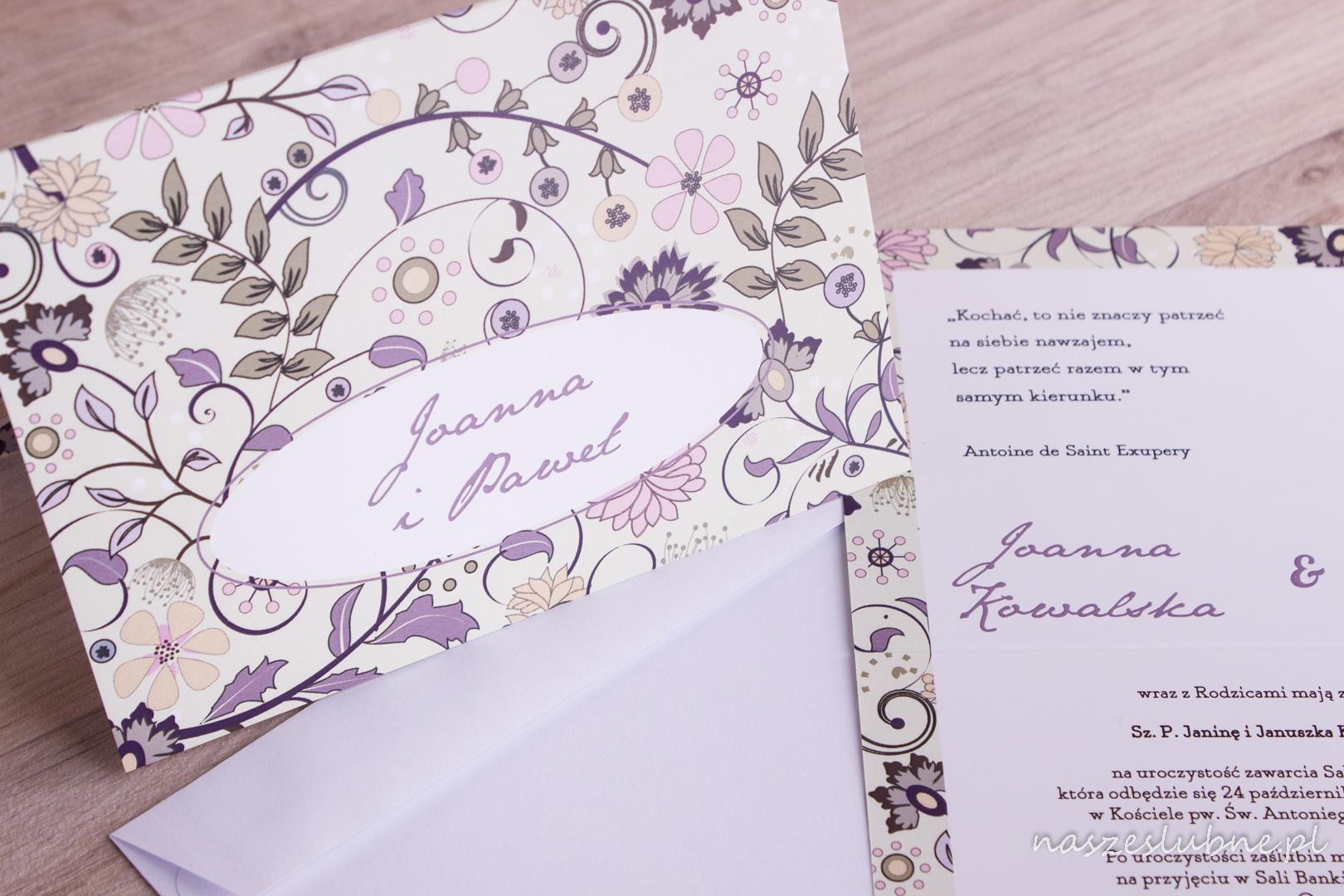Zaproszenia ślubne - W KWIATY: wzór nr 5