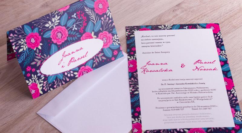 """Zaproszenia ślubne – W KWIATY: wzór nr 5 """"C"""""""