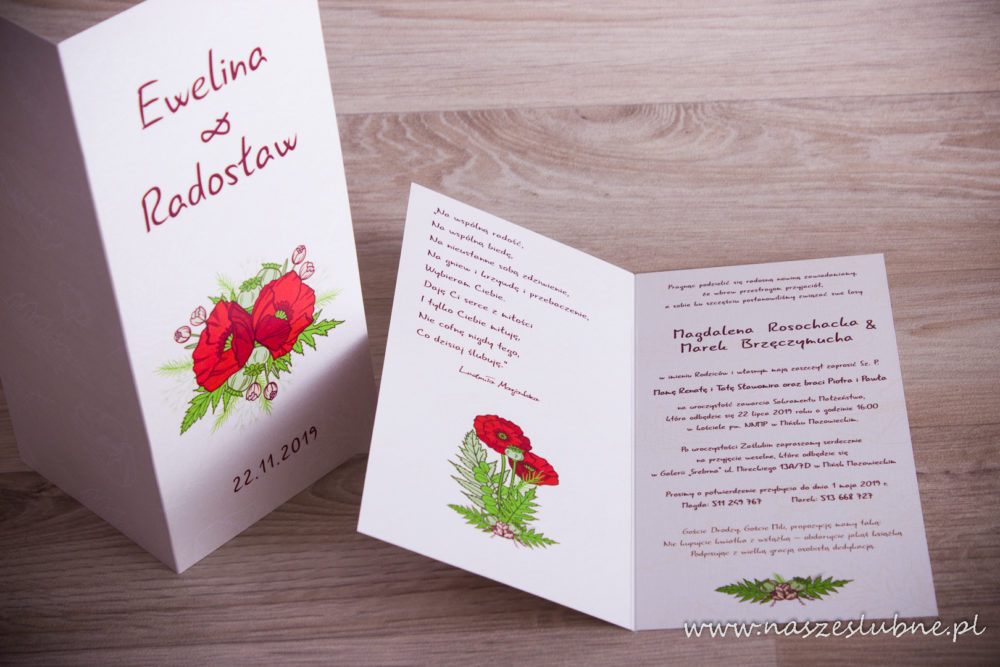 Zaproszenia ślubne - W KWIATY: wzór nr 8