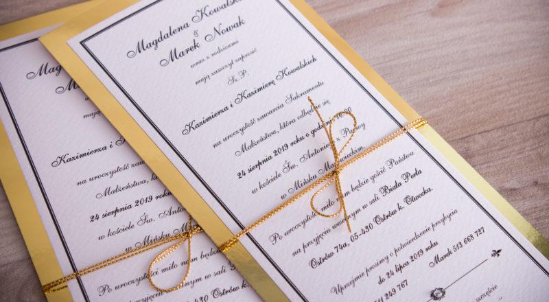 Zaproszenia ślubne – ZŁOTE: wzór nr 1