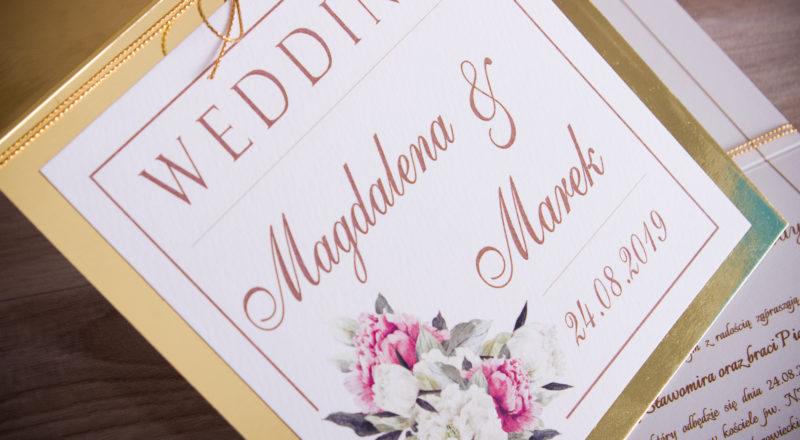Zaproszenia ślubne – ZŁOTE: wzór nr 2