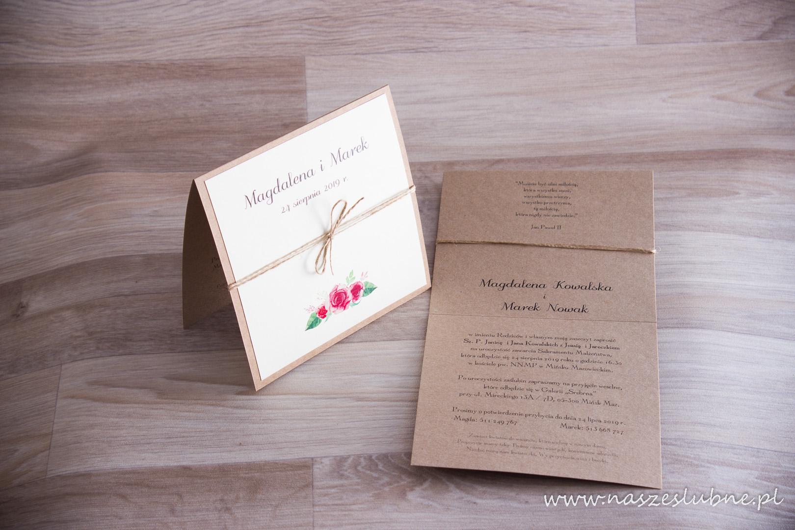 Zaproszenia ślubne – EKO: wzór nr 6