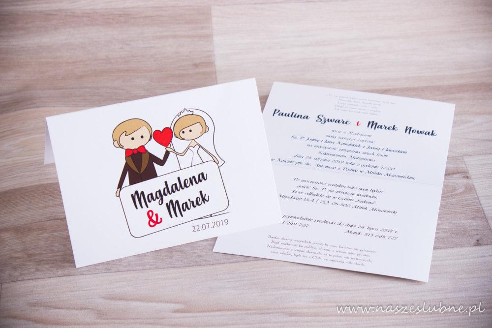 Zaproszenia ślubne - KOMIKSOWE: wzór nr 1