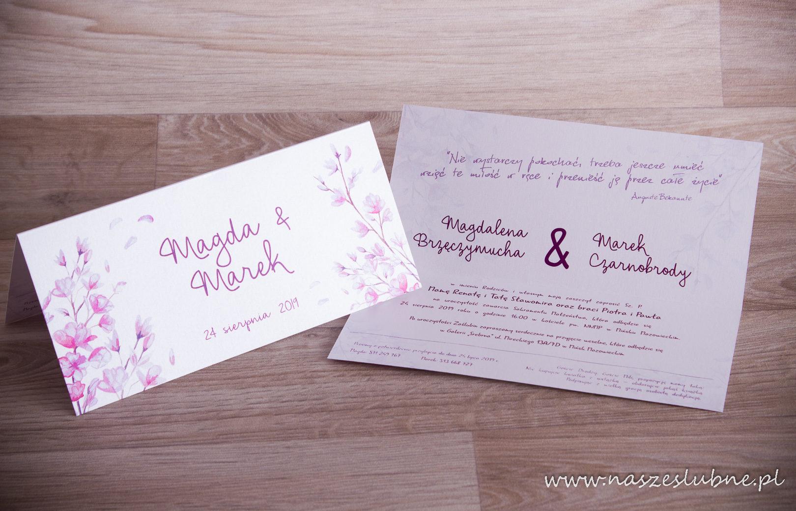 Zaproszenia ślubne – W KWIATY: wzór nr 6