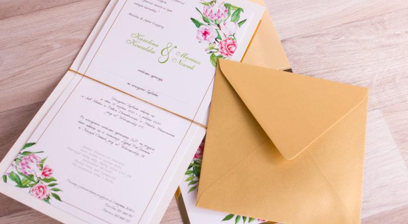 """Zaproszenia ślubne – ZŁOTE: wzór nr 2 """"B"""""""