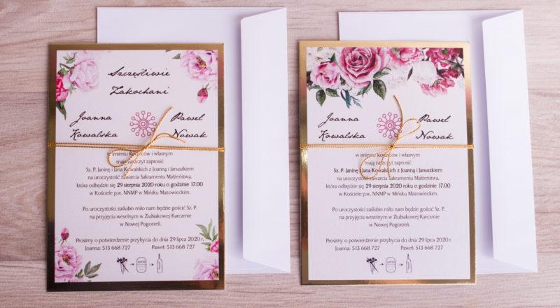 Zaproszenia ślubne – ZŁOTE: wzór nr 4