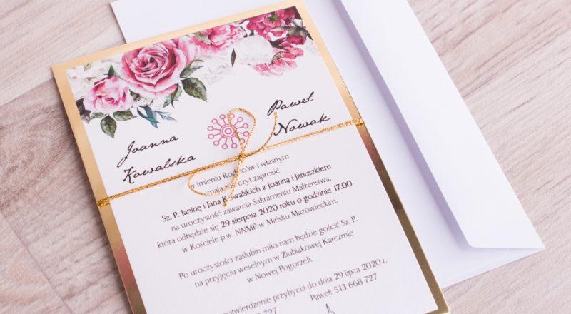 """Zaproszenia ślubne – ZŁOTE: wzór nr 4 """"B"""""""