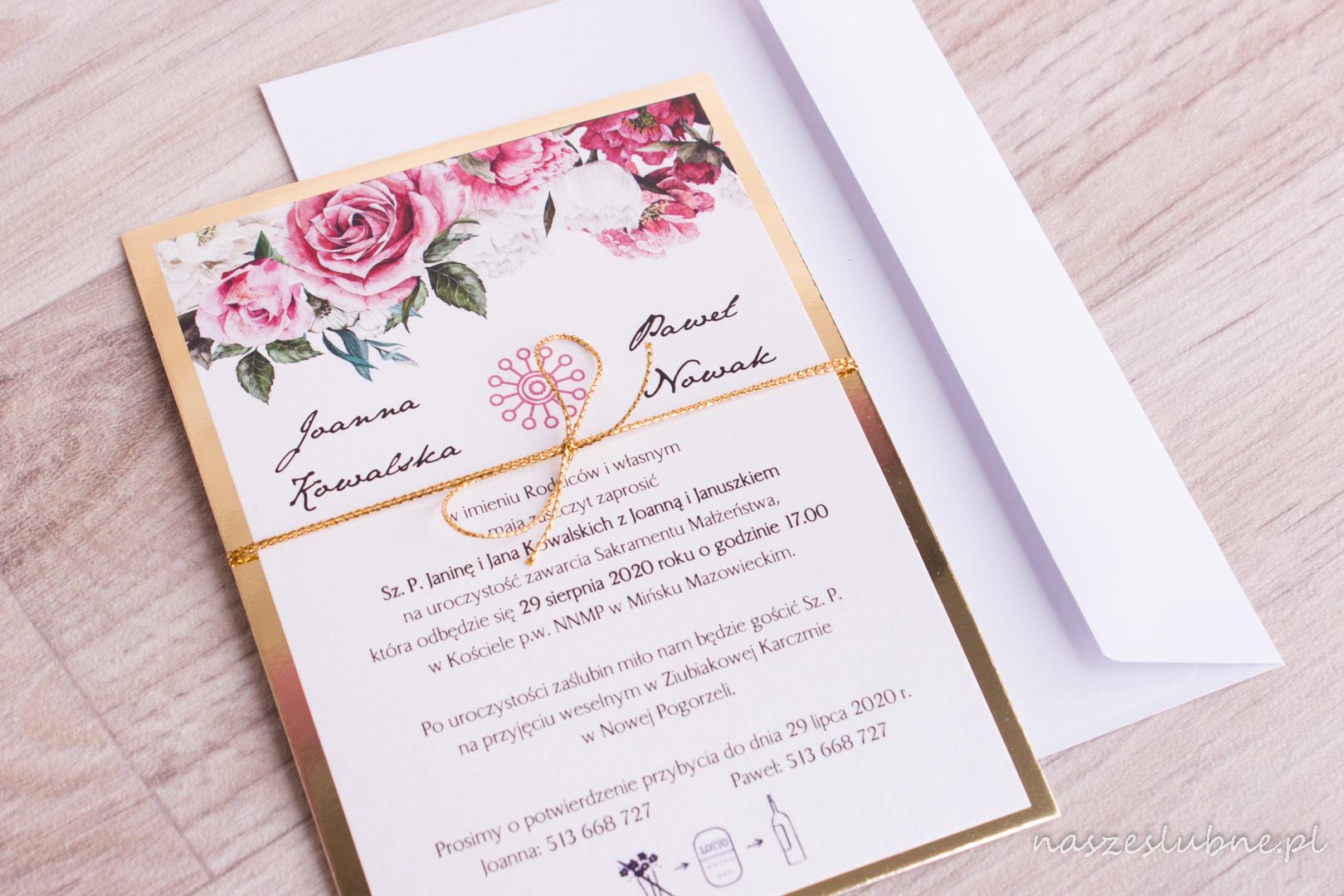 Zaproszenia ślubne - ZŁOTE: wzór nr 4
