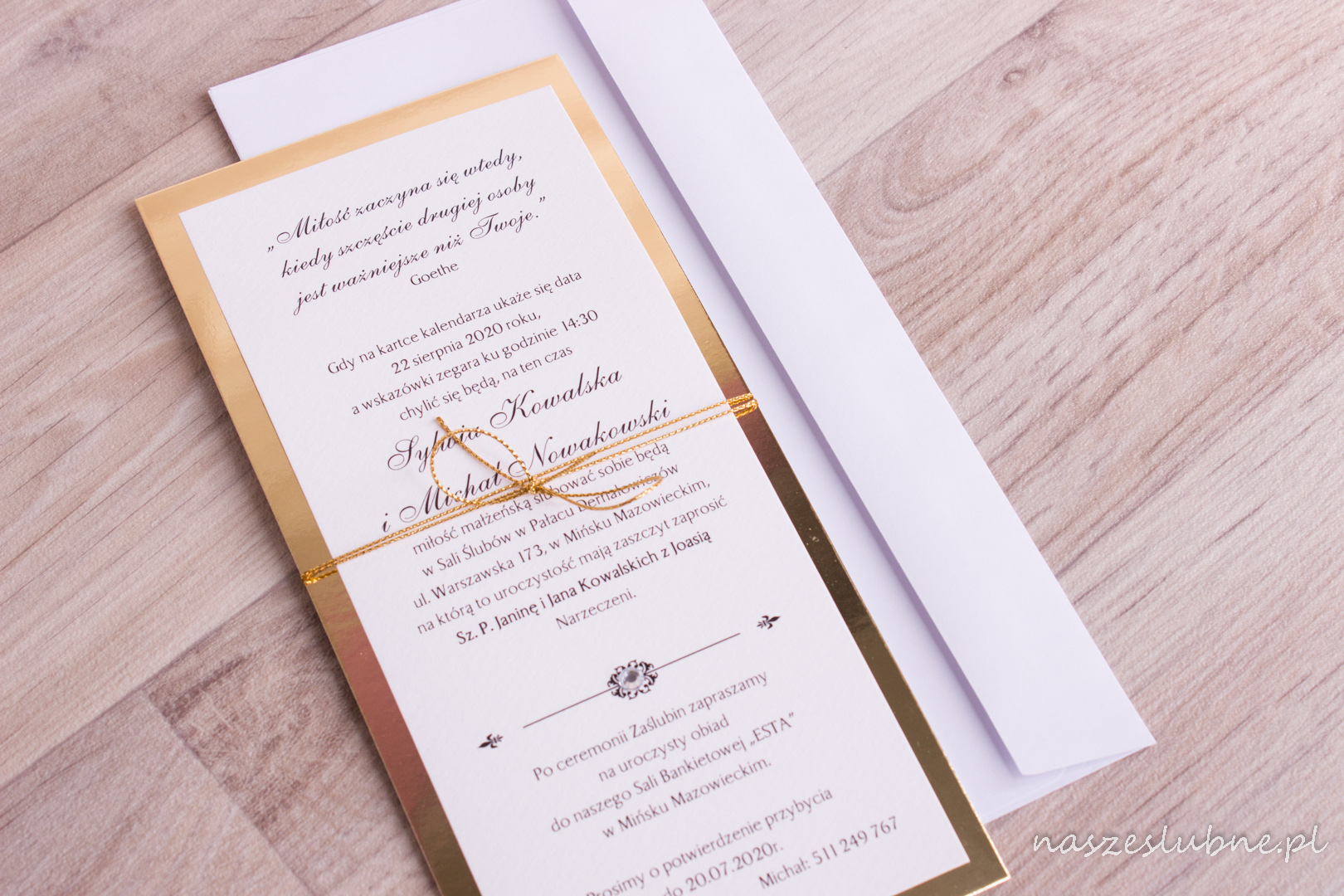 """Zaproszenia ślubne - ZŁOTE: wzór nr 1 """"B"""""""