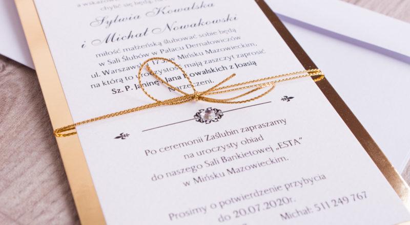 """Zaproszenia ślubne – ZŁOTE: wzór nr 1 """"B"""""""