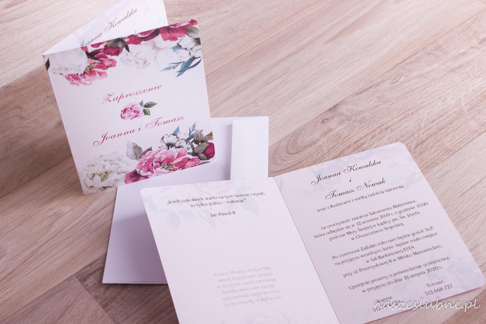 Zaproszenia ślubne - W KWIATY: wzór nr 10