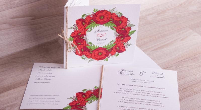 """Zaproszenia ślubne – W KWIATY: wzór nr 9 """"H"""""""