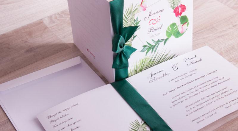 """Zaproszenia ślubne – W KWIATY: wzór nr 9 """"G"""""""