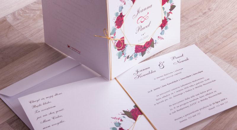 """Zaproszenia ślubne – W KWIATY: wzór nr 9 """"B"""""""