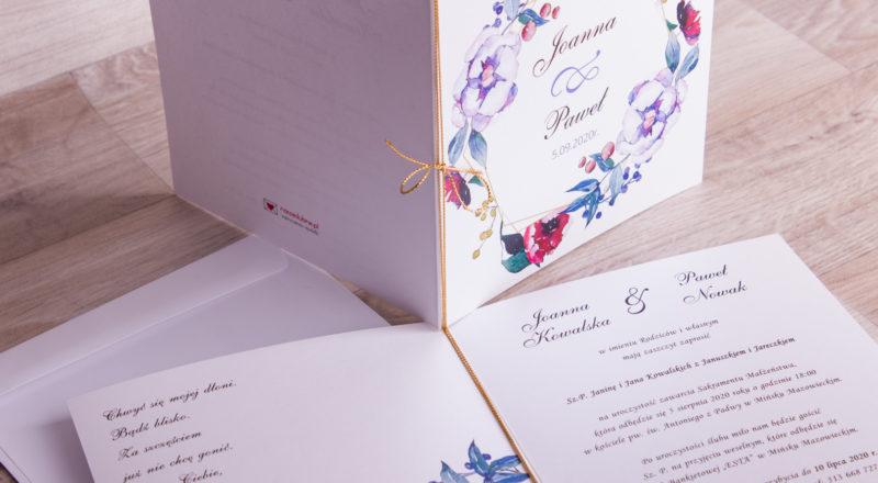"""Zaproszenia ślubne – W KWIATY: wzór nr 9 """"D"""""""