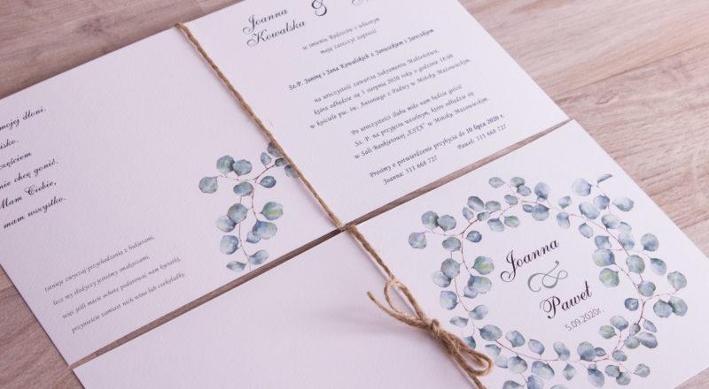 """Zaproszenia ślubne – W KWIATY: wzór nr 9 """"E"""""""