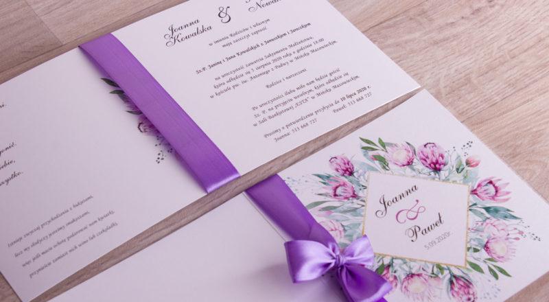 """Zaproszenia ślubne – W KWIATY: wzór nr 9 """"F"""""""