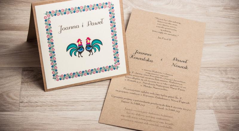 Zaproszenia ślubne – REGIONALNE: wzór nr 2
