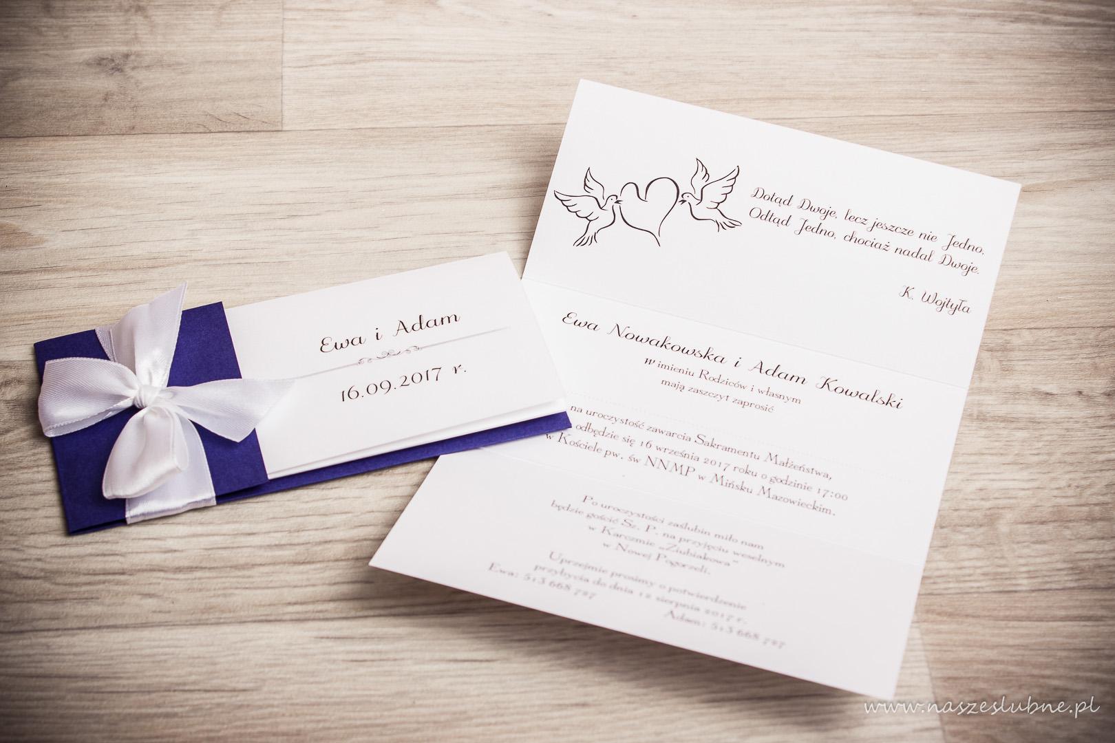 """Zaproszenia ślubne – RÓŻNE: wzór nr 6 """"A"""""""