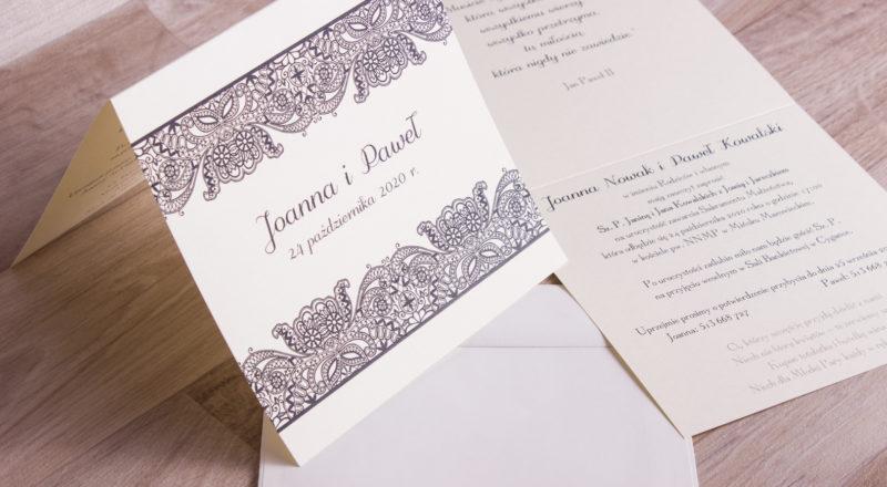 Zaproszenia ślubne – KORONKOWE: wzór nr 1
