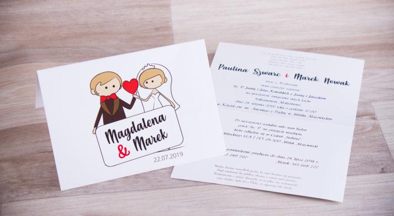 Zaproszenia ślubne – KOMIKSOWE: wzór nr 1