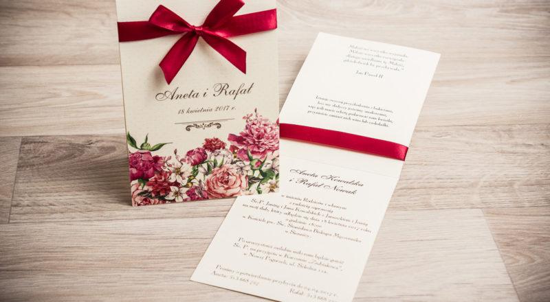 Zaproszenia ślubne – W KWIATY: wzór nr 1