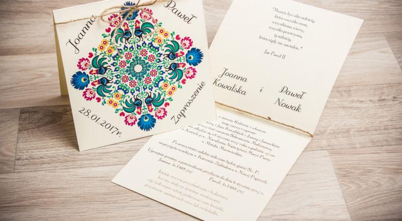 Zaproszenia ślubne – REGIONALNE: wzór nr 1
