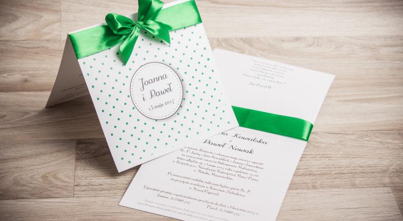 Zaproszenia ślubne – Z KOKARDĄ: wzór nr 1